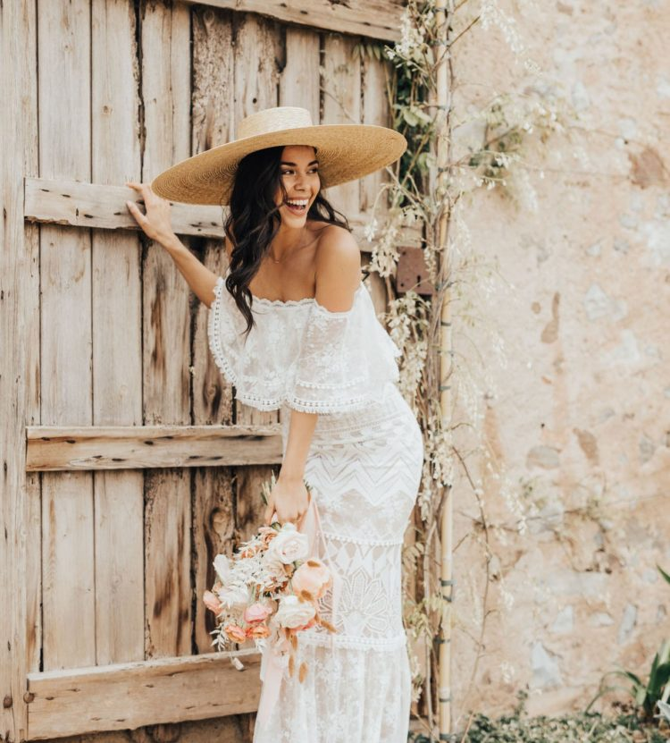 Edgy Boho Wedding Shoot With Peachy Coral Touches