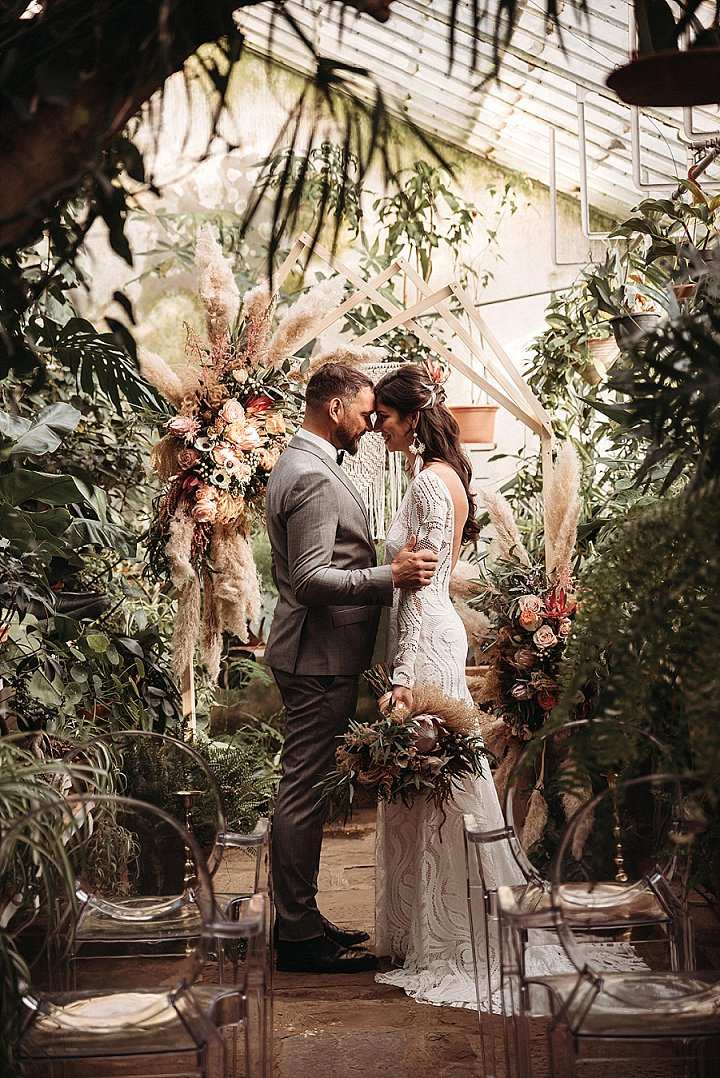 Intimate Boho Botanical Greenhouse Elopement