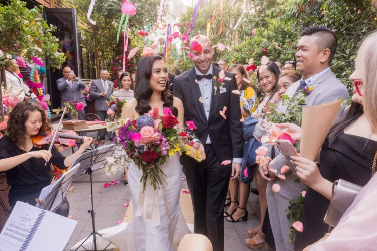 This super colorful Peruvian wedding was filled with bold blooms, textiles and even with alpacas