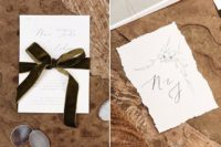 02 The stationery was done with simple black calligraphy, with a green velvet ribbon