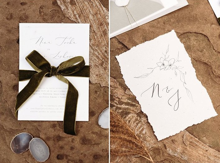 The stationery was done with simple black calligraphy, with a green velvet ribbon