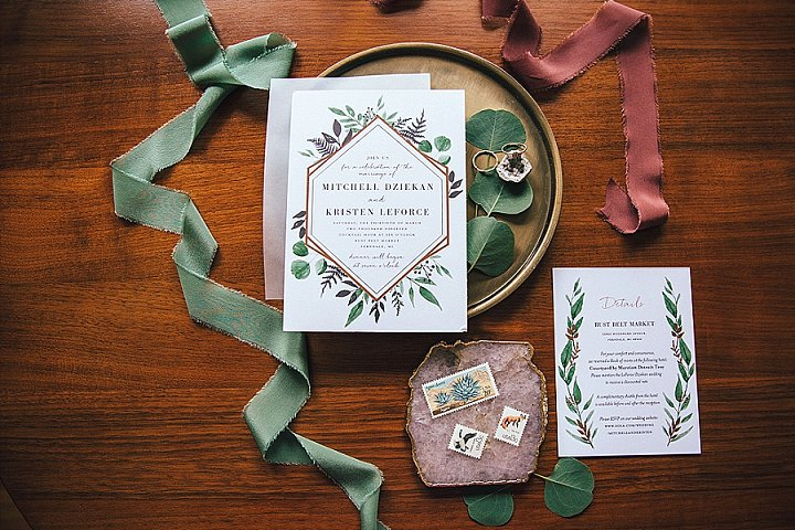The wedding invitation suite was done with botanical prints and some geodes