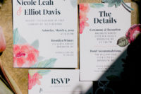 02 The wedding invites hinted on bright pink shades that were used in home decor