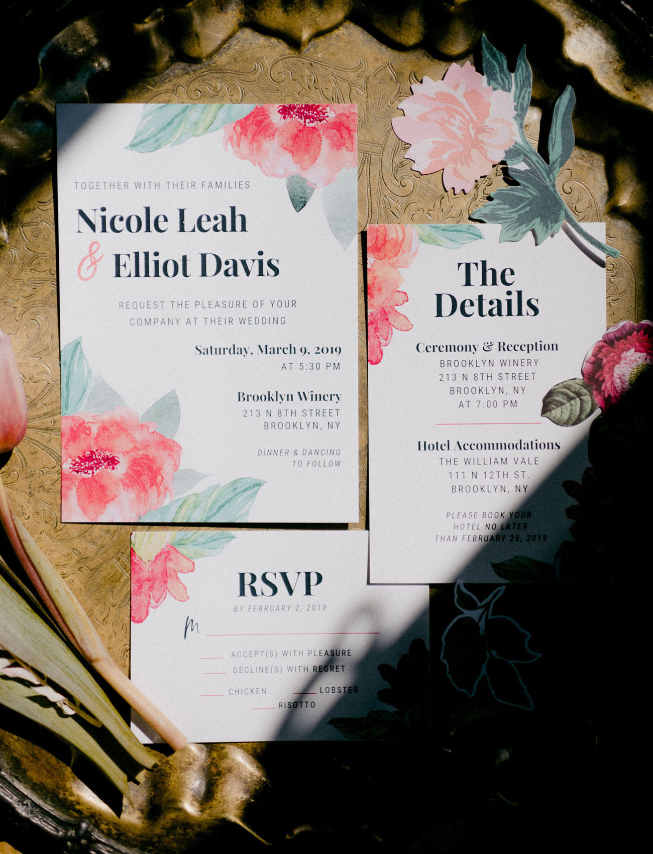 The wedding invites hinted on bright pink shades that were used in home decor