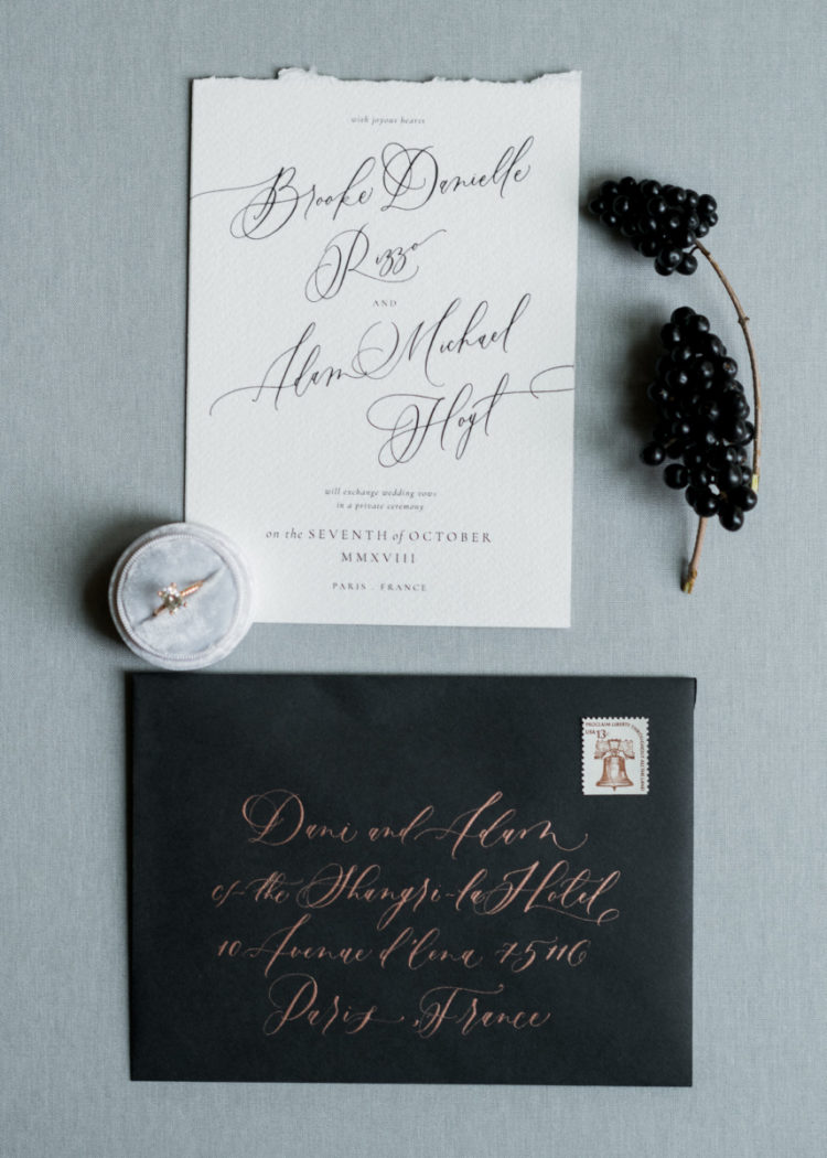 The wedding stationary was done in black and white plus rose gold touches