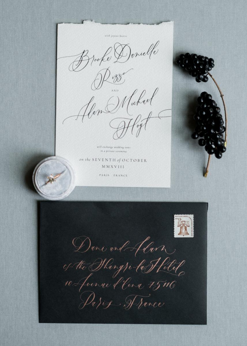 black and white wedding stationary