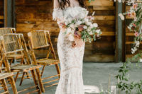 a bride in a cool floral crown