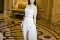 03 The bride was wearing a beautiful strapless wedding dress with an embellished bodice and a plain skirt