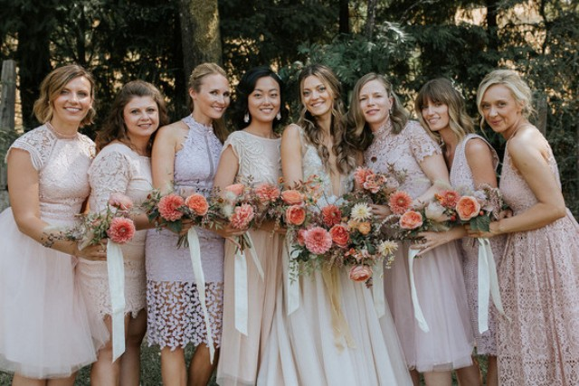 The bridesmaids were rocking blush and pink mismatching lace dresses