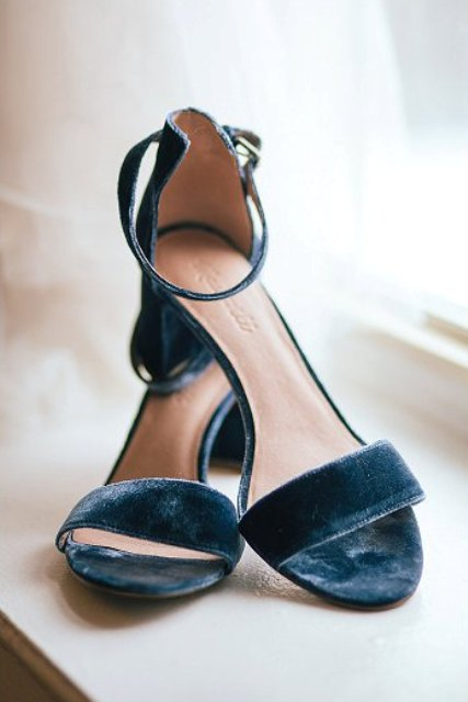 The wedding shoes were blue velvet ones for that 'something blue' touch