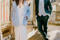 05 The next looks were done with a lace boho wedding dress and a blue faux fur coat and a black suit, neutral vest and a bolo tie