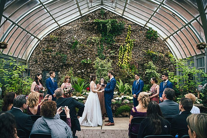 The ceremony space featured a natural living wall, which became a perfect wedding backdrop