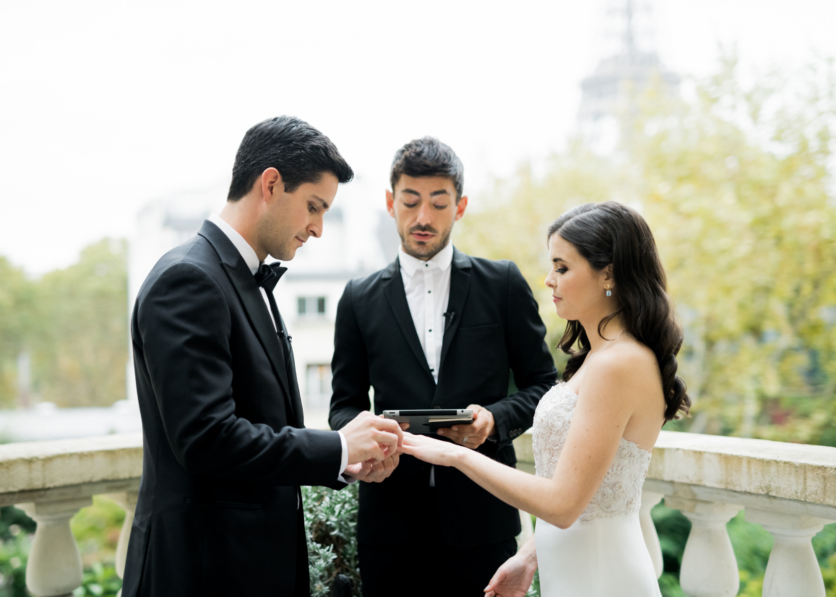 The ceremony took place on the balcony with Paris views