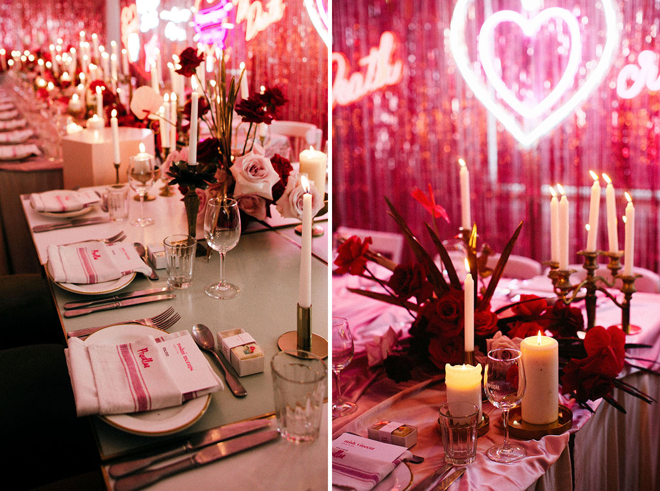 The place settings were done simple and modern plus candles in chic candle holders