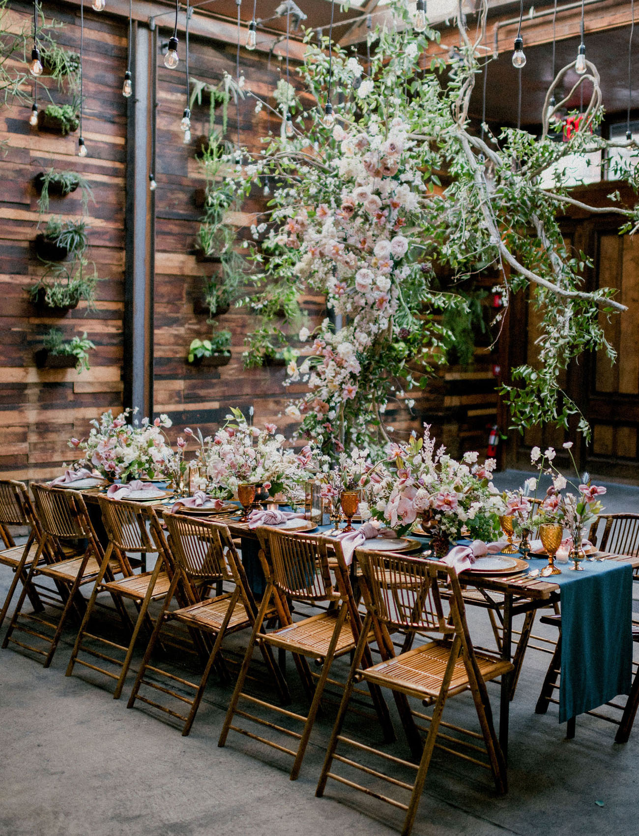 The reception space was done with lush white and pink blooms and greenery all over