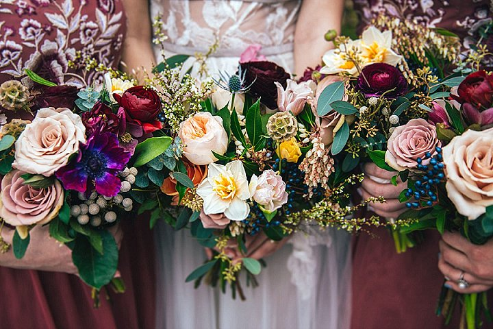 The wedding bouquets were super bright, with much greenery and berries