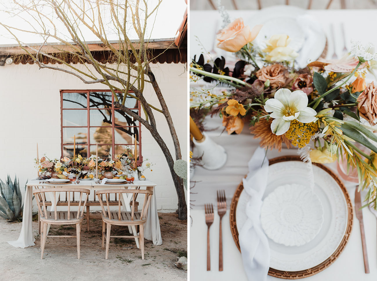 The wedding table setting was gorgeous and very boho like, with delicate blooms and candles