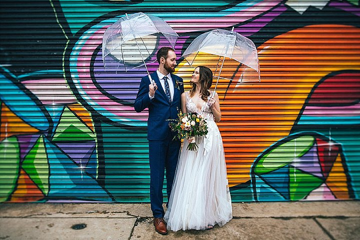The couple went for a walk and used cool sheer umbrellas not to distract attention from them