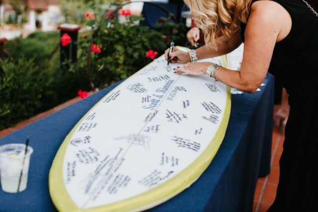 The wedding guest book was a surfer board, a creative and very relaxed idea