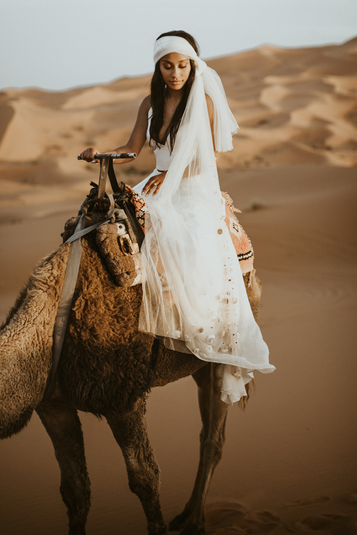The bride rode a camel after the cermeony and picnic to enjoy