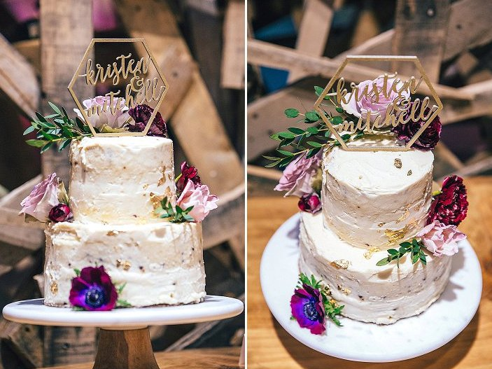 The wedding cake was a semi-naked one, with gold leaf foil, with a geometric topper and bright blooms