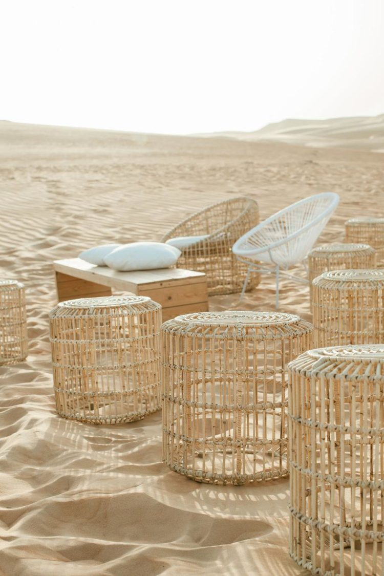 There was a wedding lounge set with rattan furnoture right in the desert