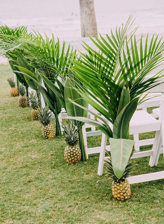 a modern tropical wedding aisle with pineapples and lush palm leaves that line it up and make the aisle look tropical