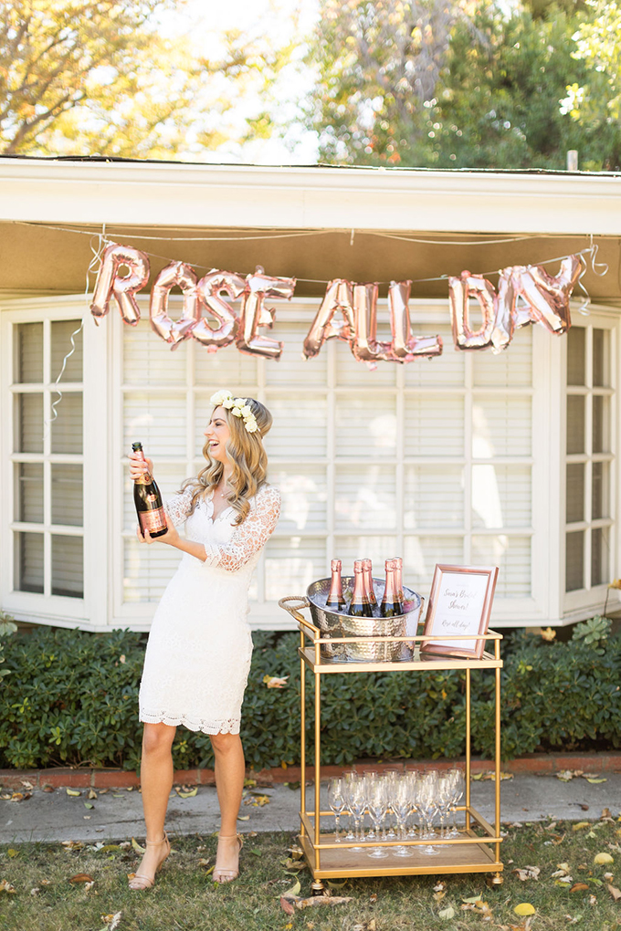 This bridal shower was themed as Rose All Day, it was glam and modern, with a fun touch