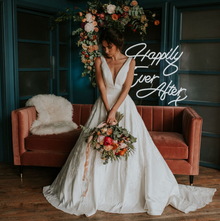Living Coral Wedding Shoot With A Modern Feel