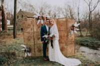 01 This wedding shoot in rosy and rust was boho and took place at a mill, I love the combo of romantic and boho decor