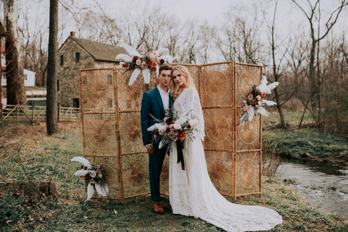 This wedding shoot in rosy and rust was boho and took place at a mill, I love the combo of romantic and boho decor