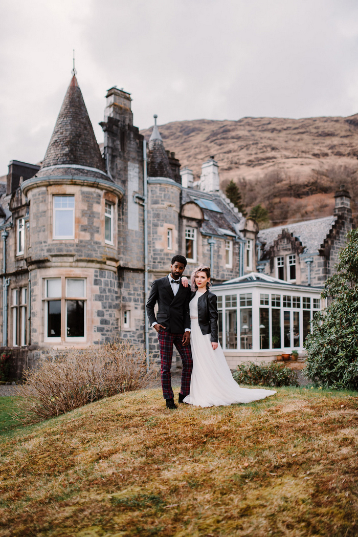 This wedding shoot was done to celebrate Scottish heritage and do that in a modern way with an edgy feel
