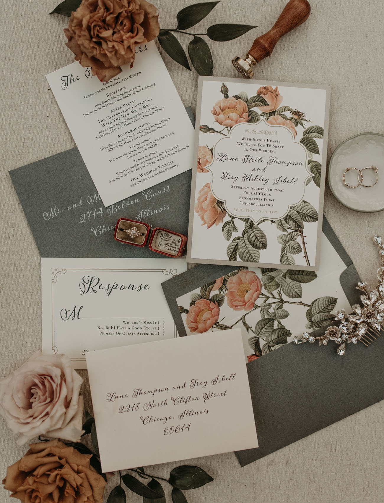 The wedding invitation suite was done in grey, with botanical prints and elegant calligraphy
