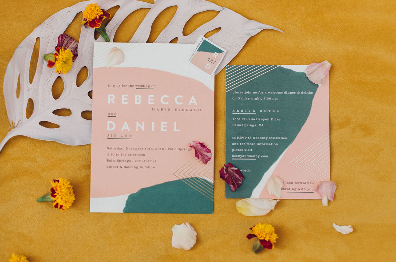 The wedding invitation suite was done with green and pik, with tropical prints and metallic touches