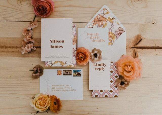 The wedding stationary was done with bright patterns and bright floral lining