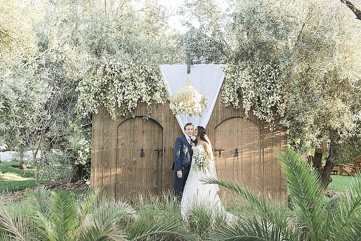 The wedding took place in an olive grove, though there were some desert touches, too