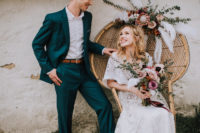 05 The groom was wearing a teal suit, a white shirt and brown shoes with no socks