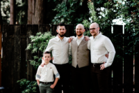 05 The groom was wearing brown pants, a grey waistcoat, a printed shirt and the groomsmen were rocking the same except for a waistcoat