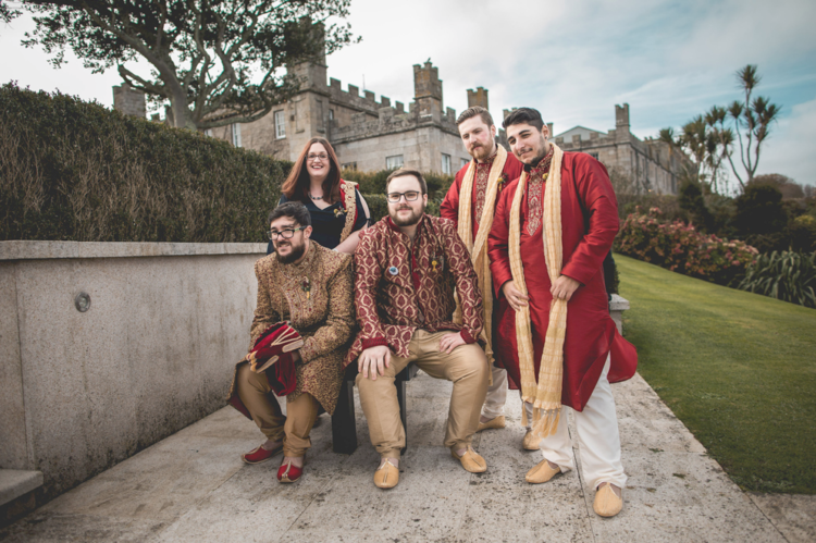 The groomsmen were rocking traditional Pakistani clothes