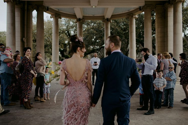 The wedding ceremony took place in a park in New Orleans