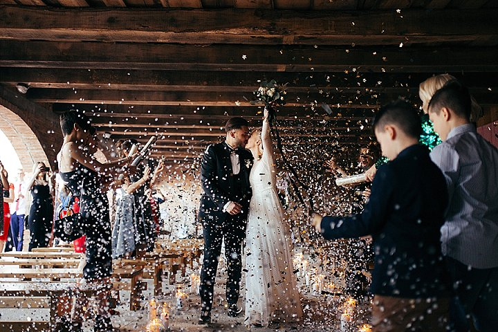 The wedding exit was sparkling and bright, with sequins and stars