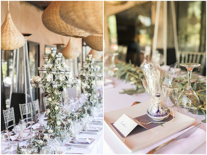 The tablescapes were done with lush greenery and neutral blooms, candles and lilac touches for decor