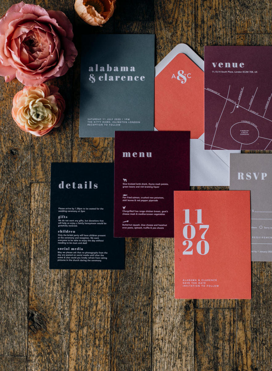 The wedding stationery was done in brights, black and grey, with a mid century modern feel