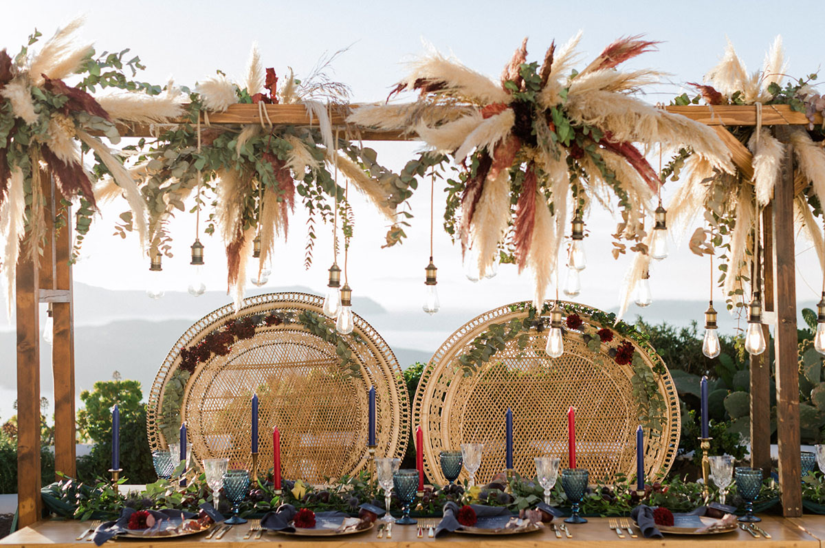 a lush greenery mixed with pampas grass looks great