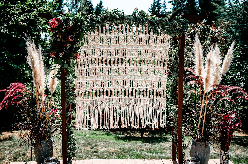 backdrop was a boho macrame one