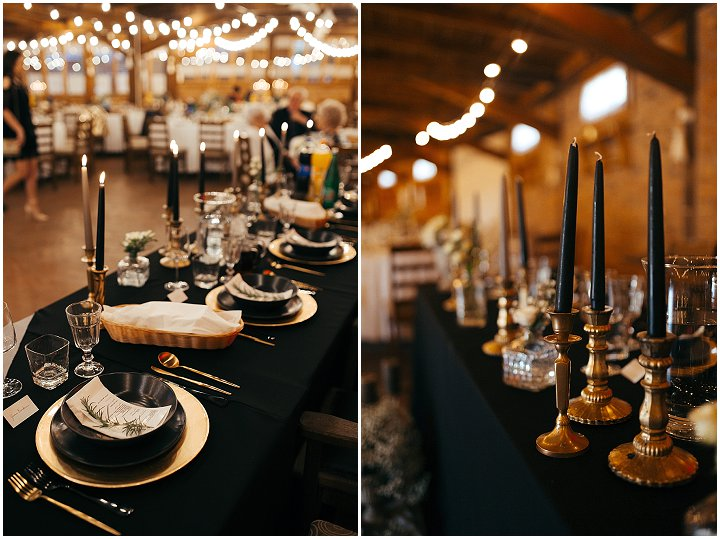 The wedding tablescapes were done in black and gold, with black candles in gold candle holders, elegant gold chargers and cutlery