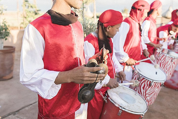Traditional musicians were invited to the wedding for entertaining guests