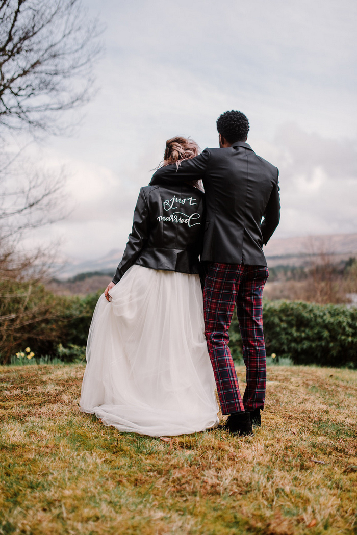 Hand painting leather jackets for weddings is a hot and trendy idea