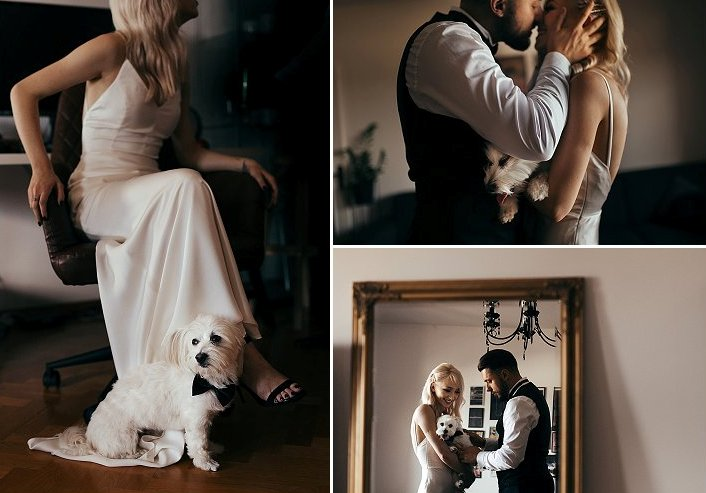 The couple's dog took an active part in the wedding
