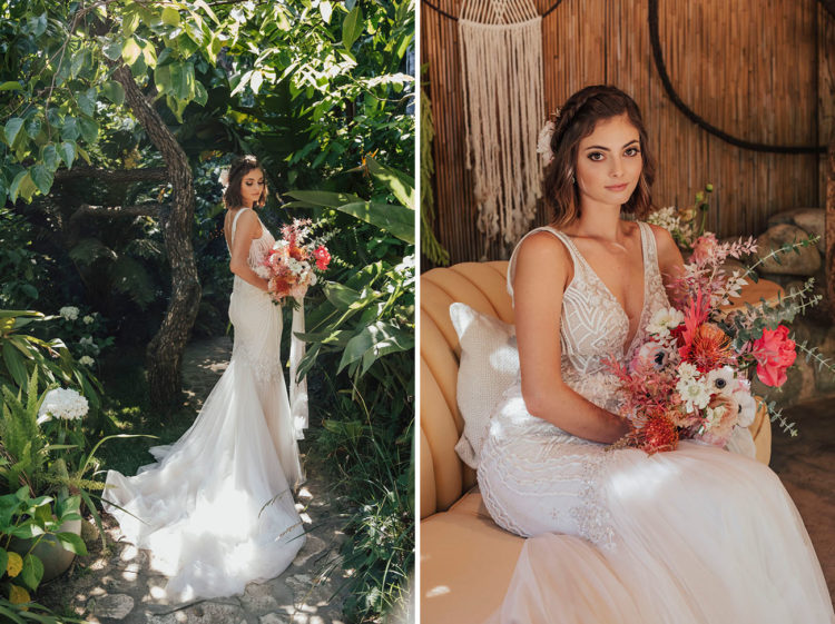 The second wedding dress was a glam mermaid one, with a plunging neckline and a train